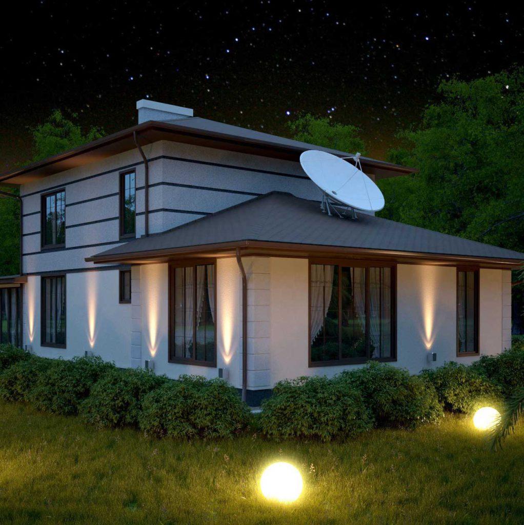 частный дом светится